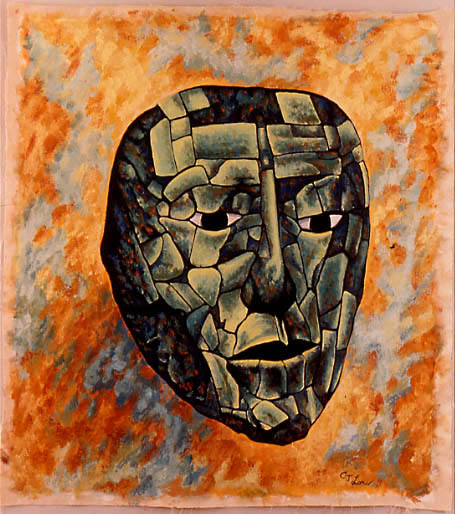 "MASKS V: STONY FAREWELL oil on unstretched canvas, 45 x 40"", 1989"